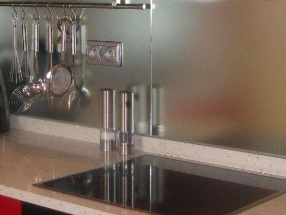 Crdence miroir cuisine cuisine face chne massif blanchi for Impression en miroir