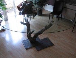 Tablette tag re vitrine meuble d 39 exposition cloche table en - Film protecteur pour table en verre ...