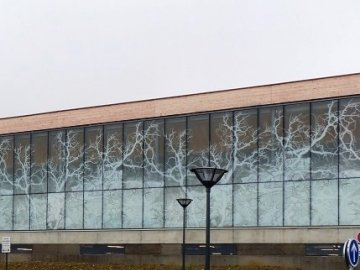 Structural sealed enamelled patterned glass facade